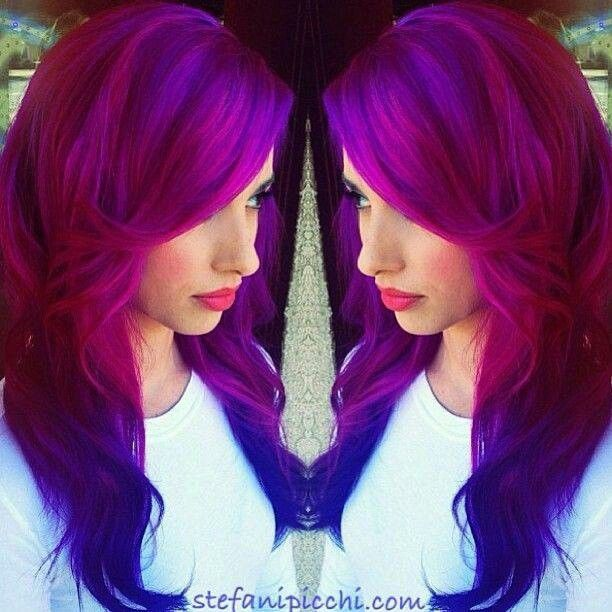 Deep Pink hair with purple undertones and blue ends with ...