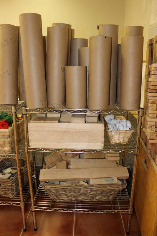 Blocks and cardboard tubes storage at Little Wonders Learning Center ≈≈ http://www.pinterest.com/kinderooacademy/construction-play/