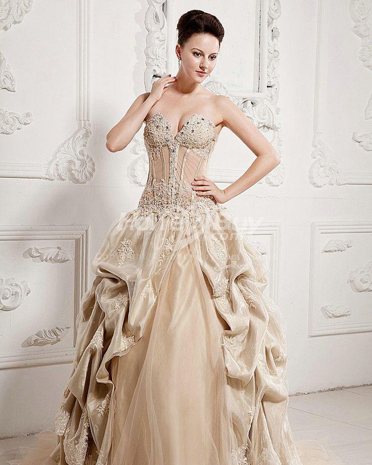 Beautiful champange ball gown wedding dresses Sweetheart Ball Gown Champagne Colored Wedding Dresses