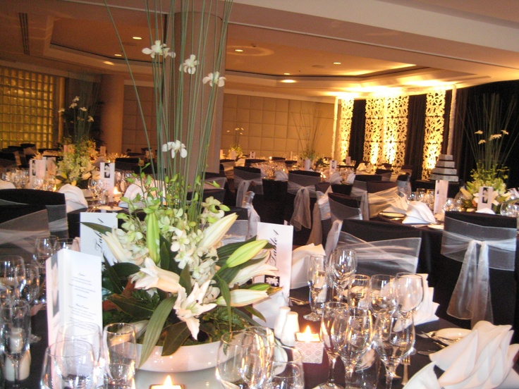 Black draping with White Fleur Screens by Staging Connections at InterContinental Adelaide