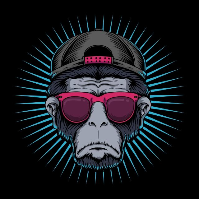 Monkey Head Eyeglasses Vector Illustration Animal Ape Art Png And Vector With Transparent Background For Free Download Monkey Illustration Vector Illustration Monkey Logo