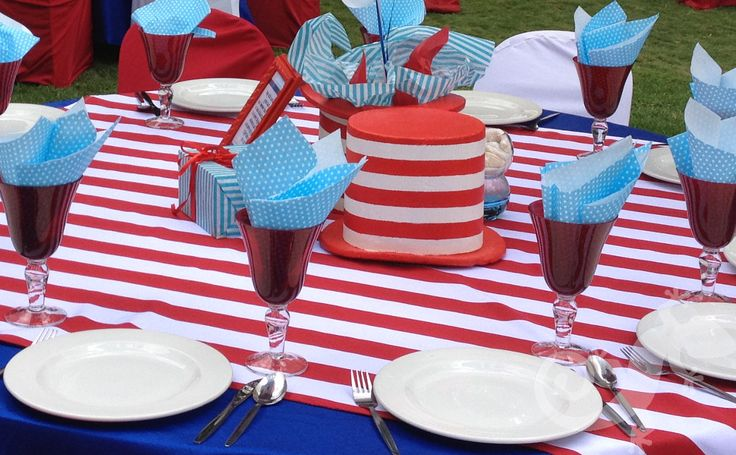 Cat in the Hat Baby Shower, table setting