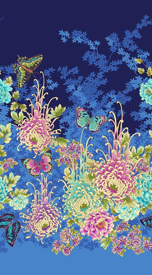"Flights of Fancy - Chrysanthemum Grace Border - 24"" x 44"" PANEL - Quilt Fabrics from www.eQuilter.com"
