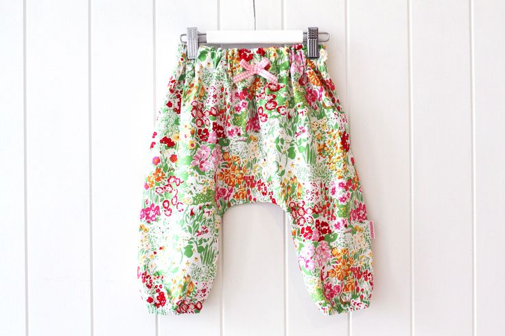 Grandma's GardenBoho Harem Pants100% Designer Cotton Soft elastic waist and cuffs trimmed with a rosette bow created using our own perfected pattern