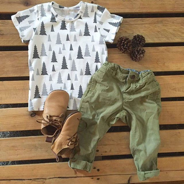 Baby boy fall outfit, pine tree print tshirt for boys - Mount Zi baby and kid's clothing