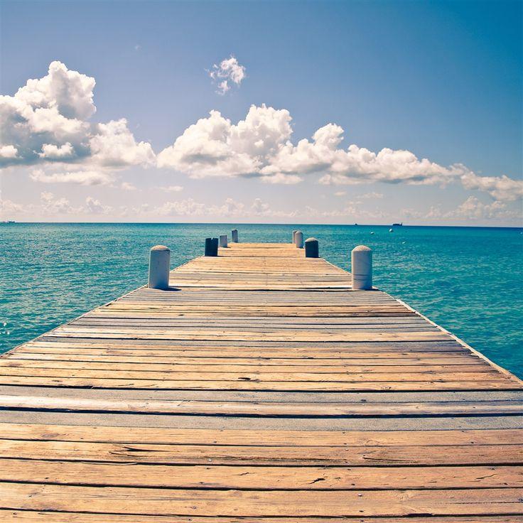 Sunny Endless Ocean Dock View IPad Air Wallpaper