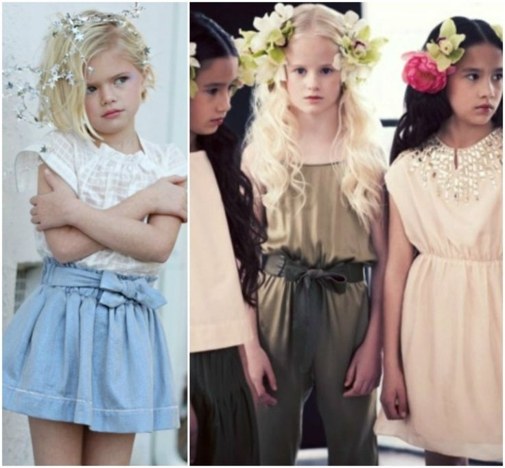 mode-petite-fille-été-blouse-blanche-jupe-bleu-clair-robe-courte-blanche-ensemble-vert-foncé