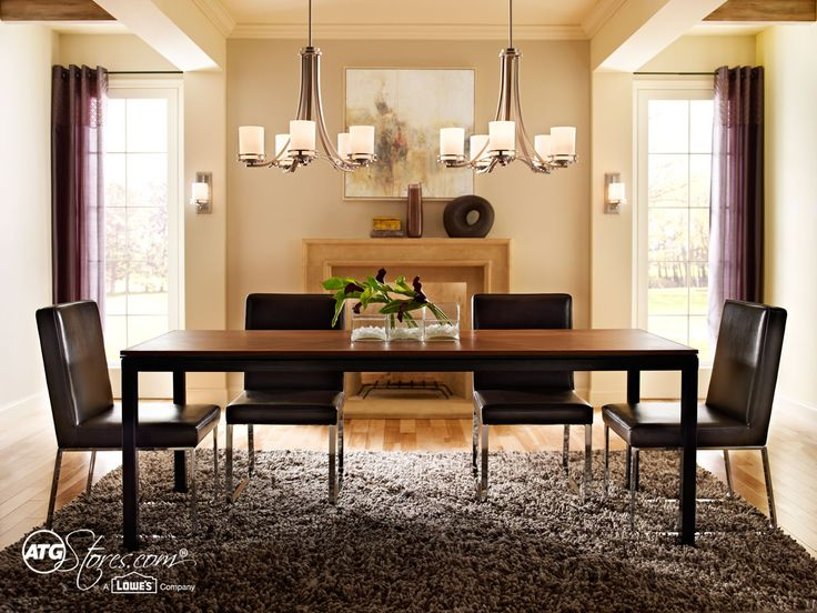 This Dining Set Is Trimmed With Two Chandeliers To Bring Extra Light And Flair