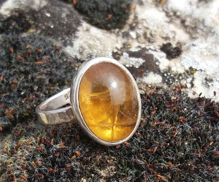 Anillo  de plata de ley con piedrasemipreciosa citrino.Sterling silver ring with natural citrine stoneSilver jewelry, boho style de Kaleashop en Etsy