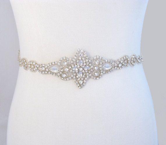 Bridal Belt, Crystal Rhinestone Wedding Dress Sash, Jeweled Beaded Gown Sash, 35 Satin Color Options / Ivory / Champagne / Black / Pink