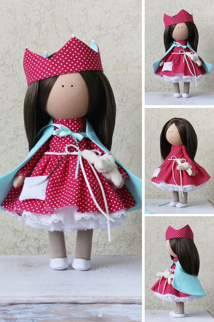Tixtile doll Tilda doll Rag doll Art doll red brown colors Soft doll handmade Cloth doll Fabric doll Love doll by Master Margarita Hilko