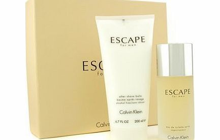 Calvin Klein Escape Coffret: Eau De Toilette Spray 100ml/3.4oz   After Shave Balm 200ml/6.7oz - 2pcs This Escape Coffret includes: 1 x Eau De Toilette Spray (100ml/3.4oz): A legend in scents for modern men Contains bergamot, juniper, rosemary Blended with sage, mandarin (Barcode EAN = 6909120222542) http://www.comparestoreprices.co.uk/aftershave/calvin-klein-escape-coffret-eau-de-toilette-spray-100ml-3-4oz- -after-shave-balm-200ml-6-7oz--2pcs.asp