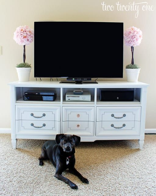 A TV stand takes up a lot of space (especially in a studio or one bedroom apartment), but a dresser can do the same job and hold your clothes, too. Learn more here.