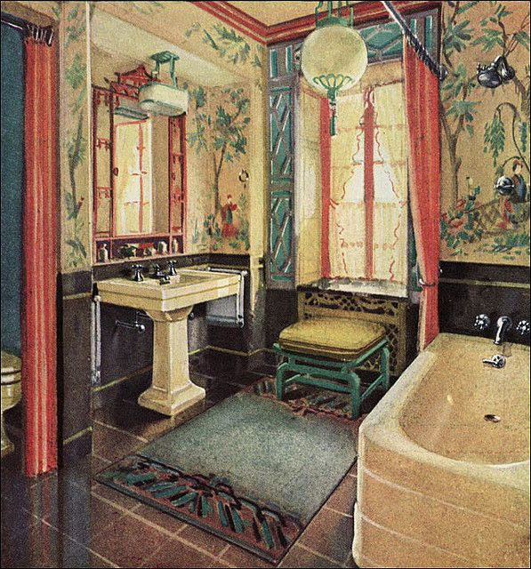 A Chinoiserie scheme painted for the Crane Company, Chicago, 1929.  Take out the fixtures, put in a dining table and it would still be a good-looking room. --MV.