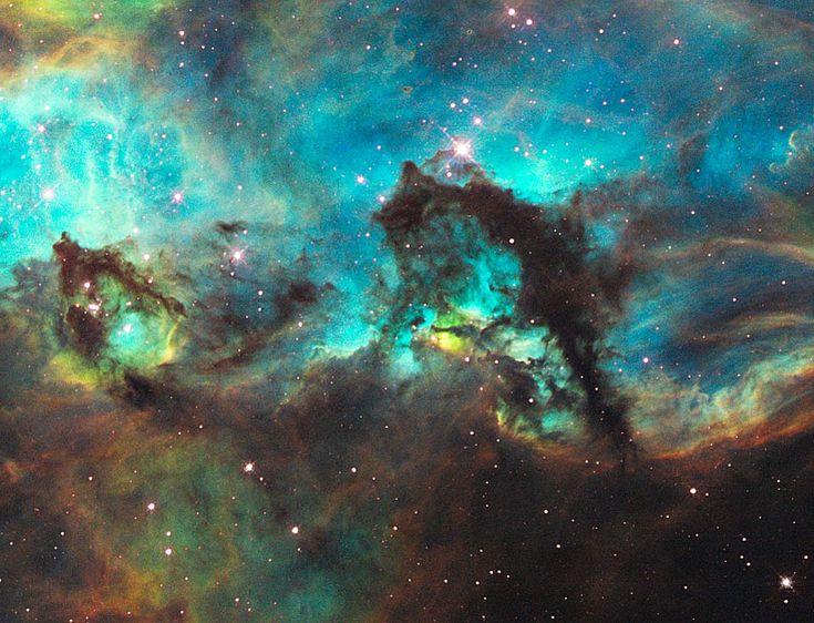 Pour certains, il ressemble à  un hippocampe. En réalité l'objet sombre sur la moitié droite de l'image est un  pilier de  poussière de quelque 20  années-lumière de long. Cette  structure de poussière à la forme aussi étrange qu'évocatrice se trouve dans une galaxie voisine de la nôtre,  le Grand Nuage de Magellan, dans une région de formation d'étoiles très proche de la vaste  nébuleuse de la Tarentule. L'énergétique nébuleuse engendre un  amas d'étoiles appelé NGC 2074, dont le centre se…