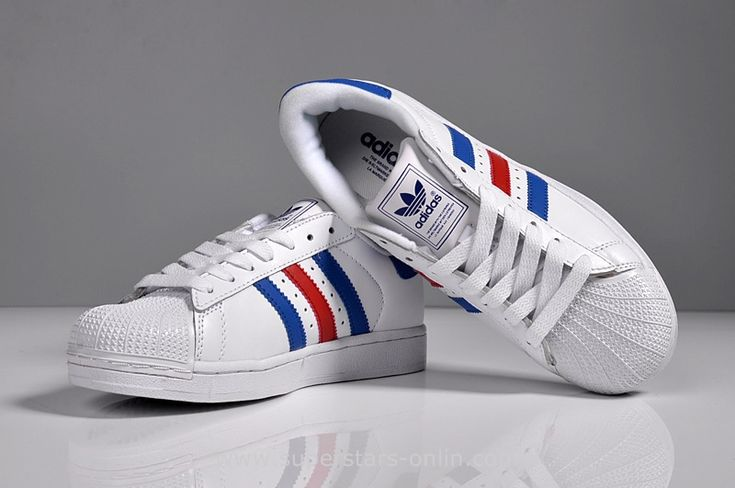2016 Adidas superstar Women Casual Sneakers white blue red