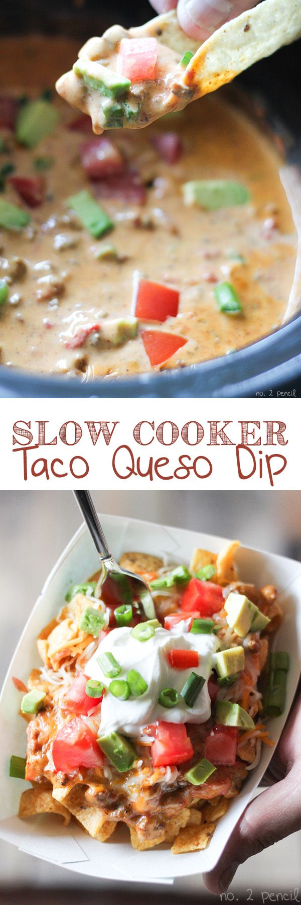 Slow Cooker Taco Queso Dip ~ so smooth and so delicious... Perfect for dunking tortilla chips, or make delicious Taco Queso Boats with corn chips, shredded cheese and taco toppings.