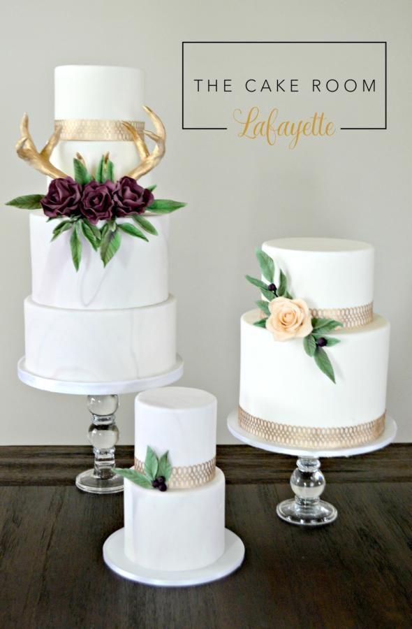Antler Wedding Cake Trio by Kayla Trahan - http://cakesdecor.com/cakes/276382-antler-wedding-cake-trio