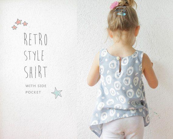 Retro-Shirt Muster - Pdf Anleitung der Kleinkind-Nähen - 2 bis 9 Jahren  Sie erhalten eine PDF-Muster, kein tatsächlicher Mädchen Sommer Top.
