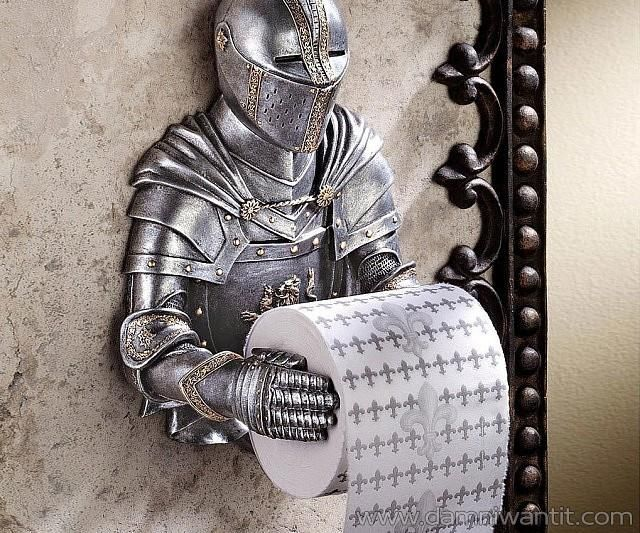 Have a knight to protect you and assist you when you're on your duties, this Gothic themed bath tissue holder is a great addition to your bathroom, especially if you are into this kind of themes. It has a great look and feel made from black and silver with gold accents which will take you back to those medieval times.