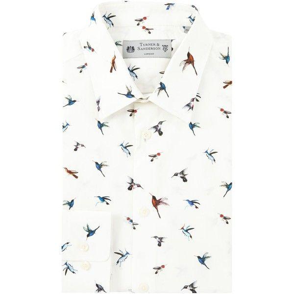Turner & Sanderson Fawley Bird Print Shirt ($78) ❤ liked on Polyvore featuring men's fashion, men's clothing, men's shirts, men's dress shirts, men shirts formal shirts, mens cotton shirts, mens formal shirts, mens shiny dress shirts, mens floral print dress shirt and men's bird print shirt