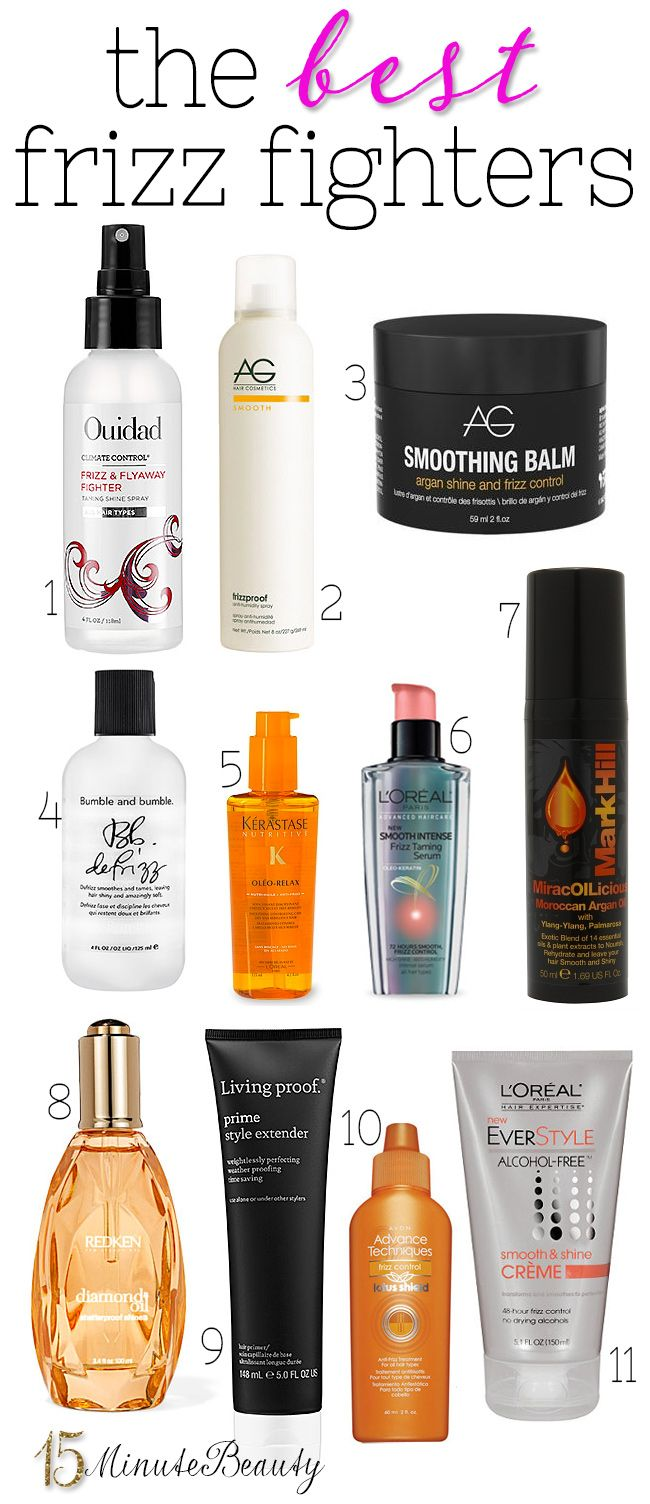 11 Great Anti-Frizz Hair Products via 15MinuteBeauty.com - This could come in handy being a frizzy curly haired girl