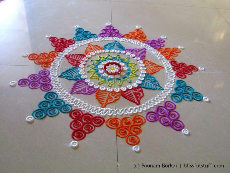 Beautiful multicolored rangoli   Creative and unique rangoli design   Po...