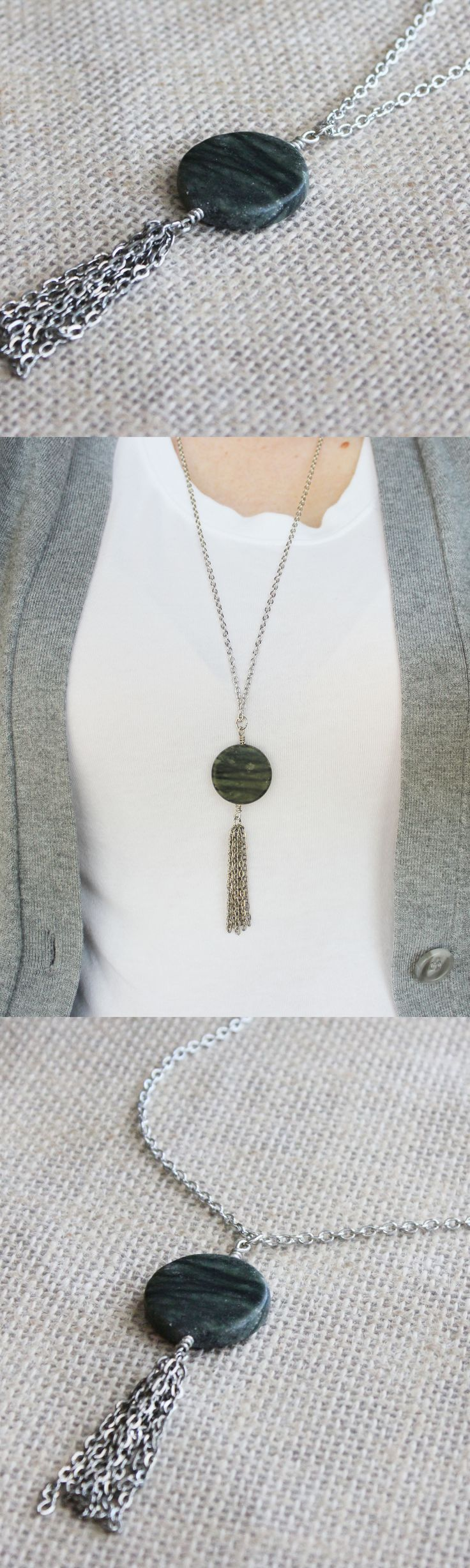 Stone & Tassel Necklace | This stone & tassel pendant necklace makes a great statement.