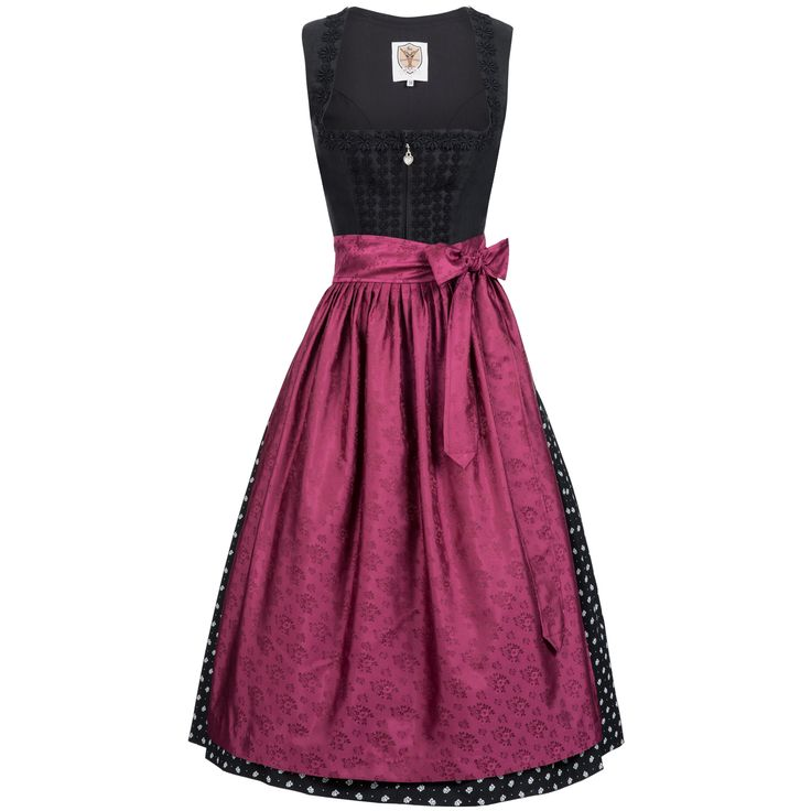 Langes Dirndl Erna in Schwarz von Apple of my Eye