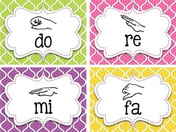 Bright Swirls Curwen Hand Signs {Kodaly} Posters and Word ...