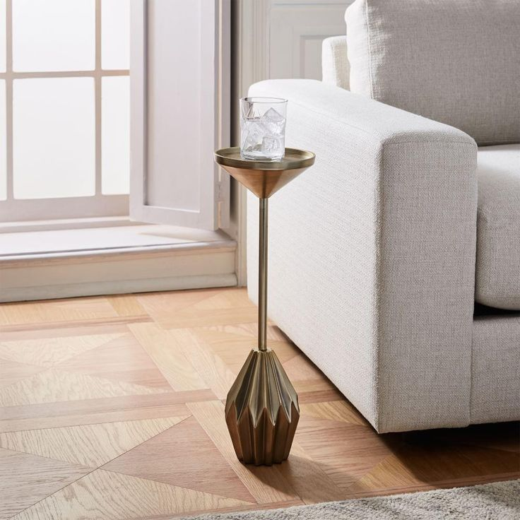 Faceted Brass Drink Table