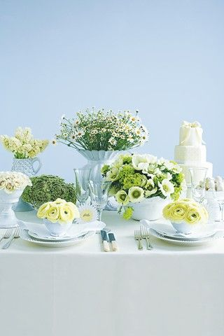 White Flowers in different pots and vases