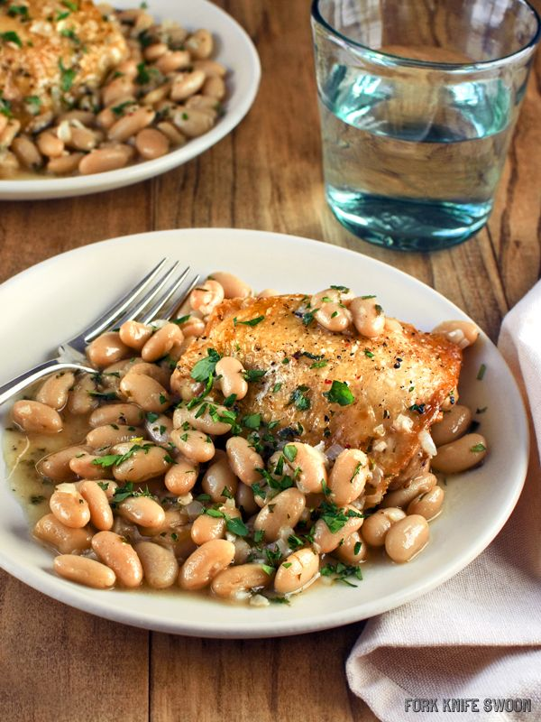 Chicken with Cannellini Beans and Fresh Herbs | Fork Knife Swoon