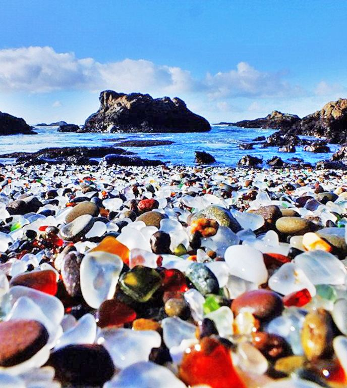 Collecting sea glass at Glass Beach in MacKerricher State Park near Fort Bragg, California