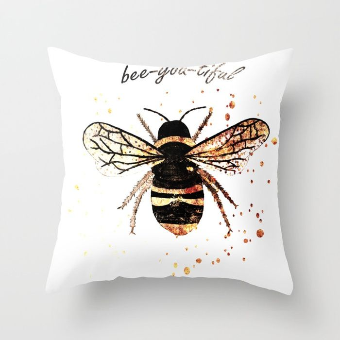 Bee Design Throw Pillow 💕💕 pillows  Cute and kawaii designs on pillows  for teens, girls and kids. Find decorative pillows for bedroom, with sayings or beautiful designs. #design #decor #society6 #cute #kawaii #pillow #pillows #sboar #lovely #interior #home #bedroom #bedroomdecor #animals #pets #wild #flower #floorpillow #floor #mermaid