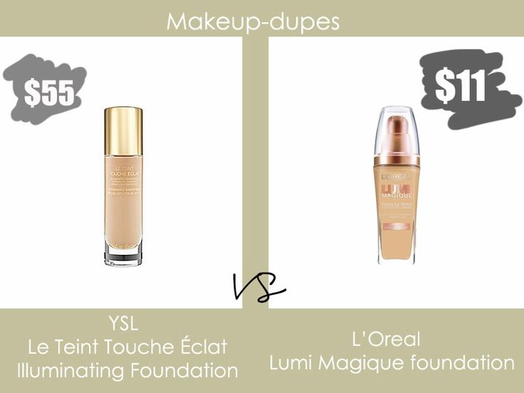 Makeup dupes. Perfect foundations for dry skin: YSL illuminating foundation or L'Oreal Lumi Magique as a cheaper solution