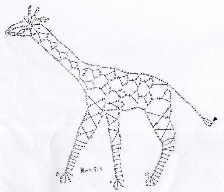 キリンのモチーフ(編み図付き、きりん、麒麟) : Crochet a little