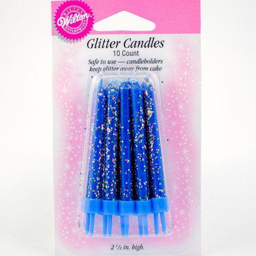 Conjunto de 10 velas azuis com brilhantes e respetivos castiçais.   6 cm de altura.