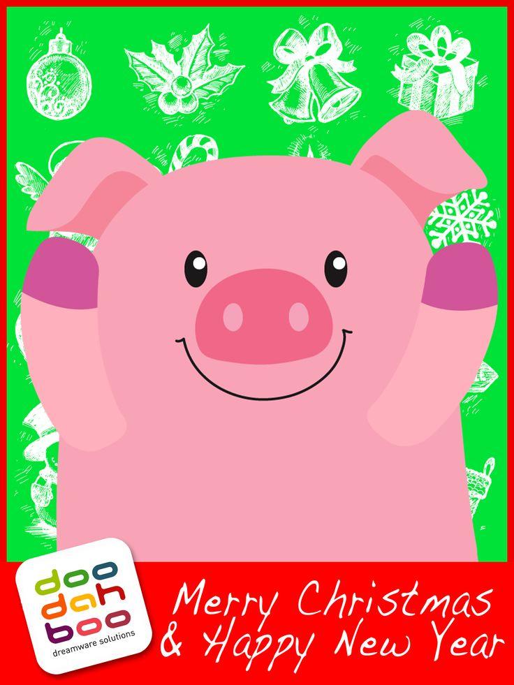 Pig Christmas Greetings Card