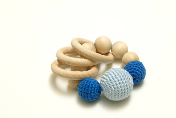 Crochet and wood teether teething ring crochet wooden beads #Crochetandwoodteether, #teethingring,