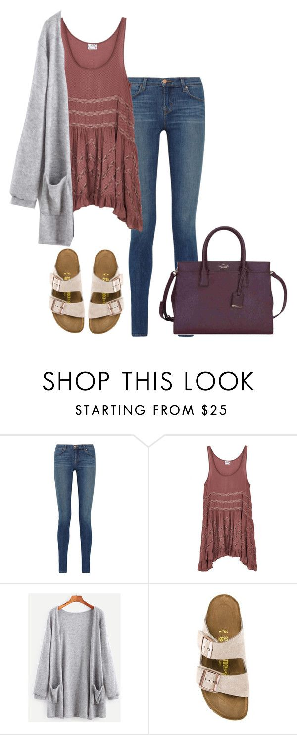 """""""I thought you'd be a hero come and save the day but you're a villain"""" by km213 ❤ liked on Polyvore featuring J Brand, Free People, Birkenstock and Kate Spade"""