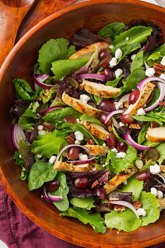 Grilled Chicken and Grape Spring Salad with Goat Cheese and Honey-Balsamic Dressing - Cooking Classy