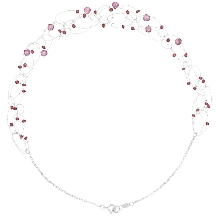 Suspended on an extremely fine silver wire, the pink gemstone beads and heart briolettes seem to float on this necklace.  It is handcrafted with utmost care and detail and has an allure that is definitely unique and reflects a designer's touch. The rhodolite garnet stones have a sophisticated pink-raspberry colour and a precious sparkle.  Given its handmade nature, slight variations in look and size are to be expected. However, it adds to the uniqueness of each piece.