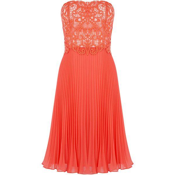 OASIS Lace Bandeau Midi Dress ($74) ❤ liked on Polyvore featuring dresses, orange, orange lace dress, strapless lace dress, midi dress, red dress and red lace dress