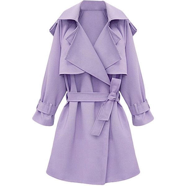 Womens Plus Size Turndown Collar Slimming Trench Coat Purple (1,105 MXN) ❤ liked on Polyvore featuring outerwear, coats, jackets, purple, plus size, slim trench coat, collar coat, purple trench coat, purple trenchcoat and slim fit coat