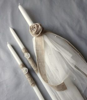 """burlap pearl rose with handmade flowers and hand beaded tulle baptismal candle set includes one 21"""" lambatha and two 17"""" candles  the candles are used for the sacrament of baptism in the Eastern Orthodox churches, including Greek, Bulgarian, Serbian, Russian, Ukrainian, Antiochian and Romanian"""