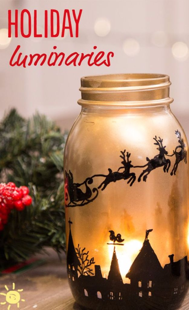 DIY Christmas Luminaries and Home Decor for The Holidays - DIY Holiday Mason Jar Luminaries - Cool Candle Holders, Tea Lights, Holiday Gift Ideas, Christmas Crafts for Kids - Line Winter Walkways With Rustic Mason Jars, Paper Bag Luminaries and Creative Lighting Ideas http://diyjoy.com/diy-christmas-luminaries