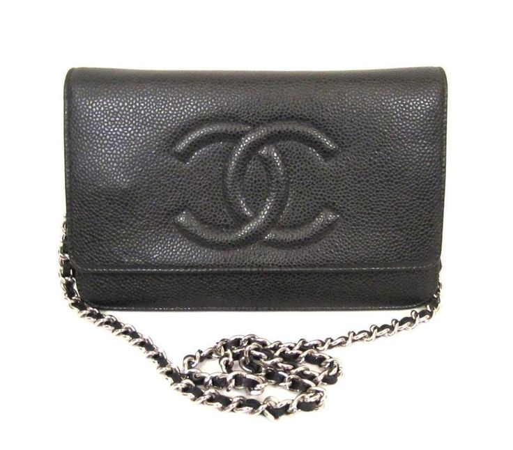 Chanel black caviar leather woc wallet on a chain