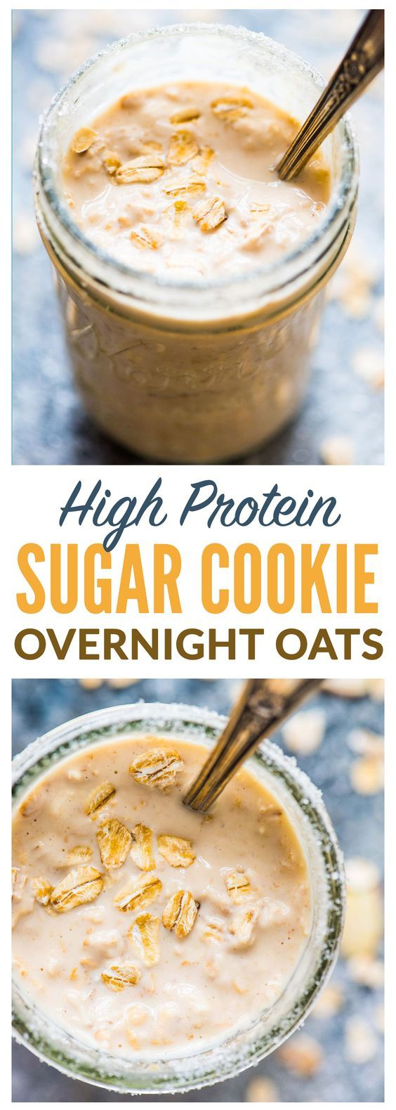 Sugar Cookie Overnight Protein Oatmeal. PACKED with 26 grams of protein and tastes like cookies! This high protein breakfast will keep you full all morning. Recipe at wellplated.com | @wellplated