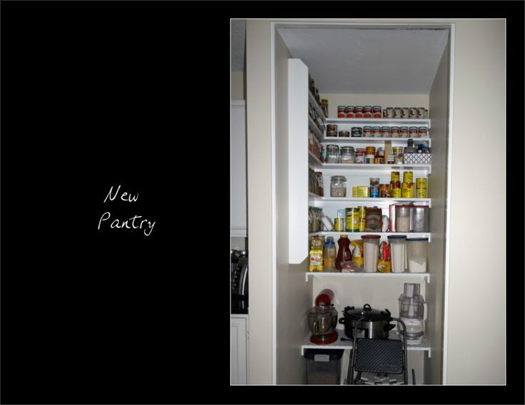 "New Pantry - After. The wire shelves were replaced with a""general store"" look and a walk-in pantry."